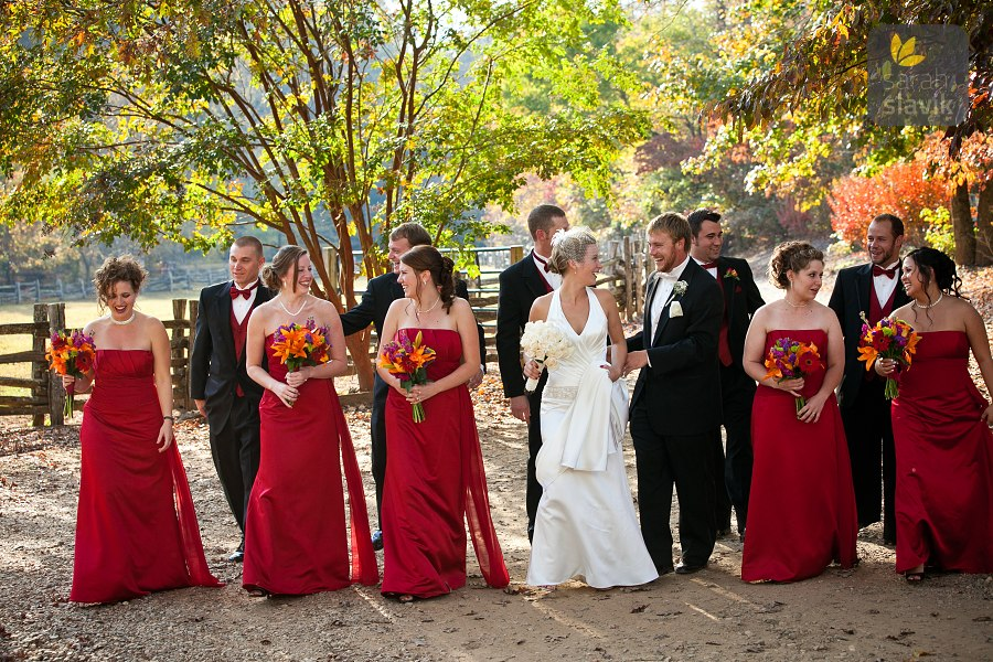 Bridal party at a farm