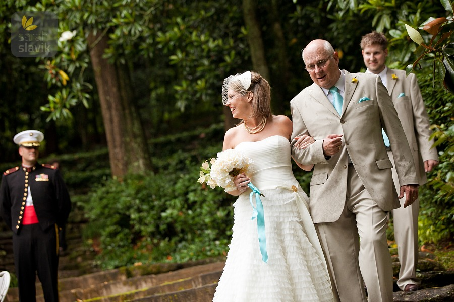 bride and dad and brother