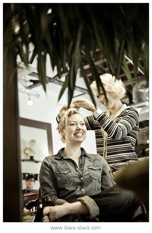 Bride-to-be at a Hair Salon