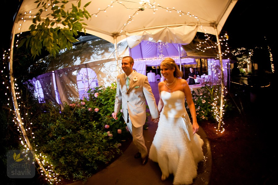 couple leaving reception