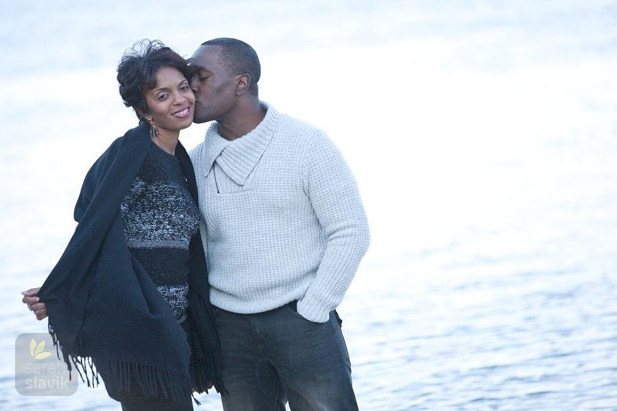 Engaged Couple by Lake