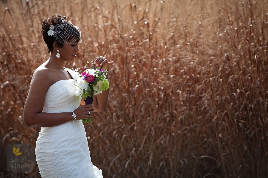 Bride with gold grass