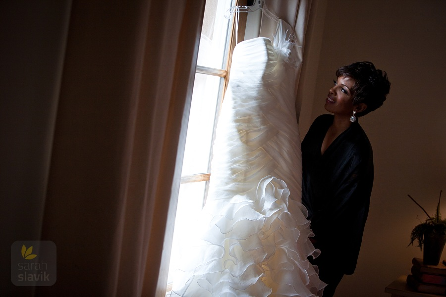 Bride with the wedding dress