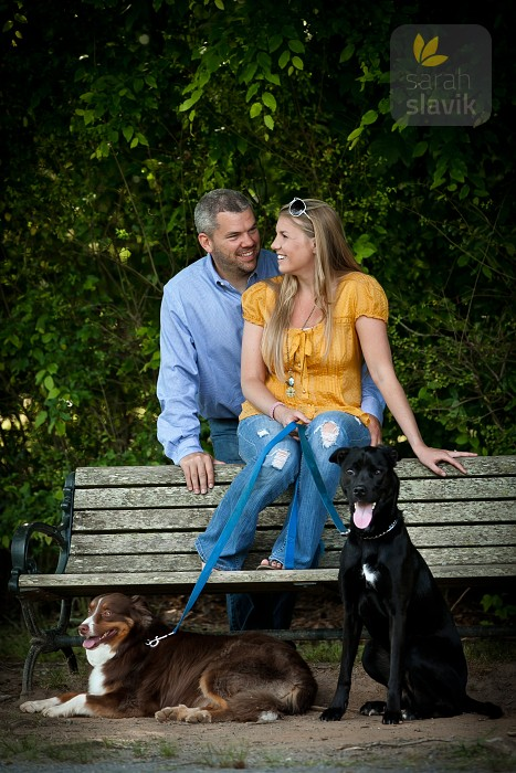 Couple portrait with dogs