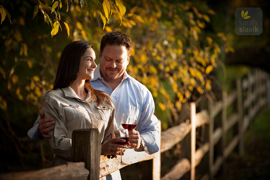 Couple with wine outdoors