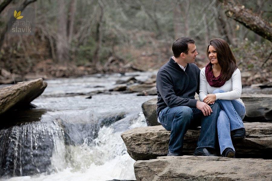 Engagement portrait on a river