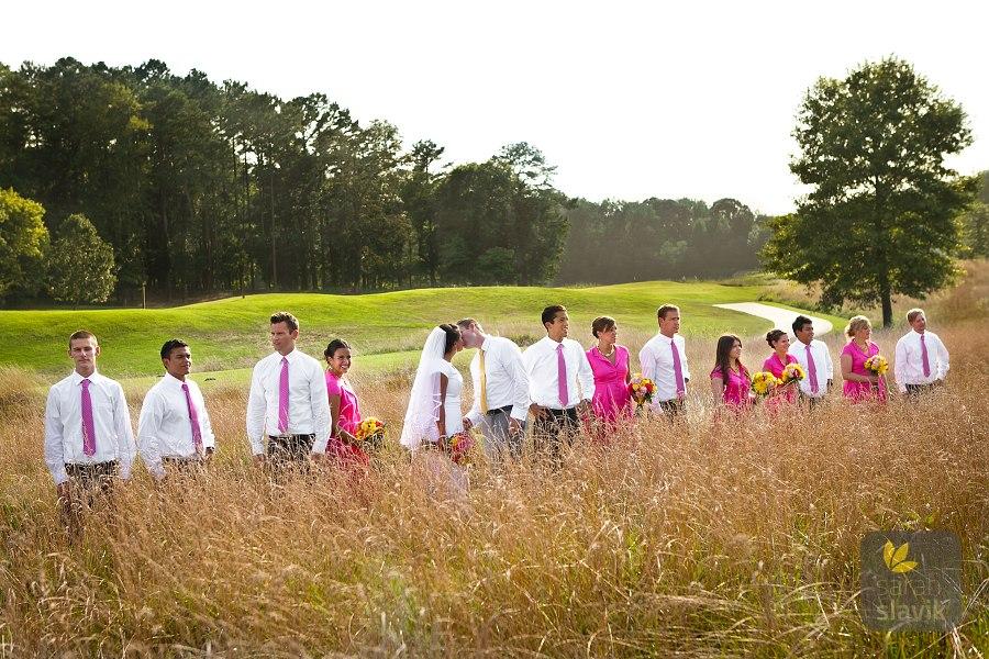 Golf course wedding party