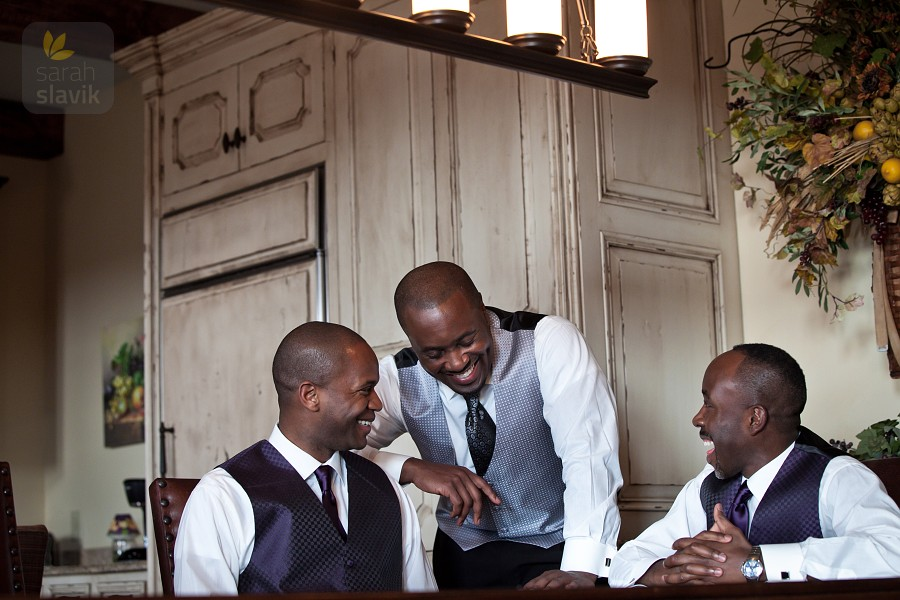 Groom with groomsmen at a table