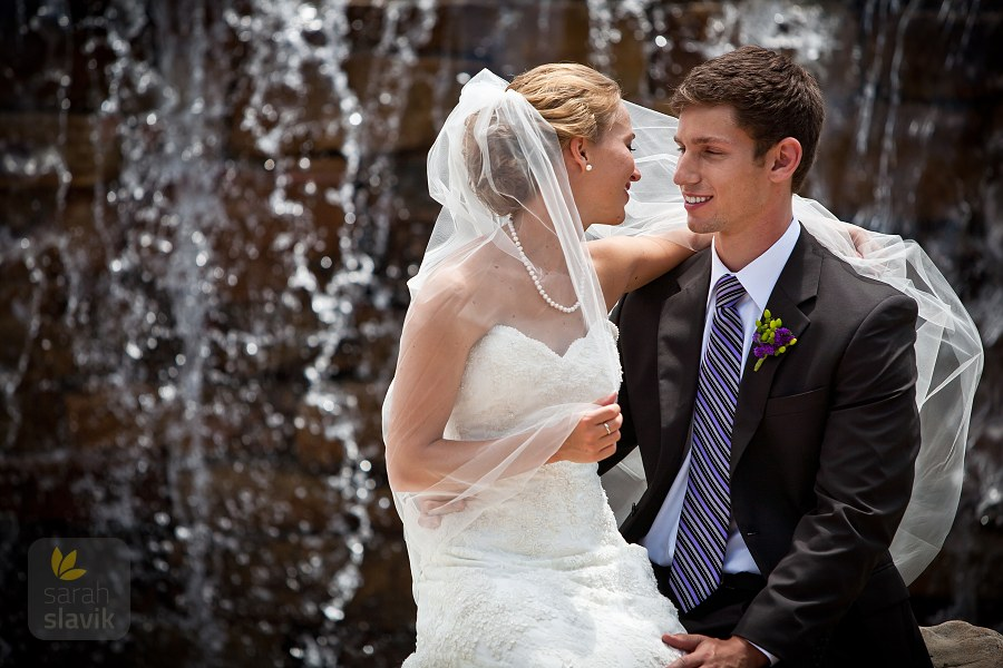 Wedding couple with waterfall