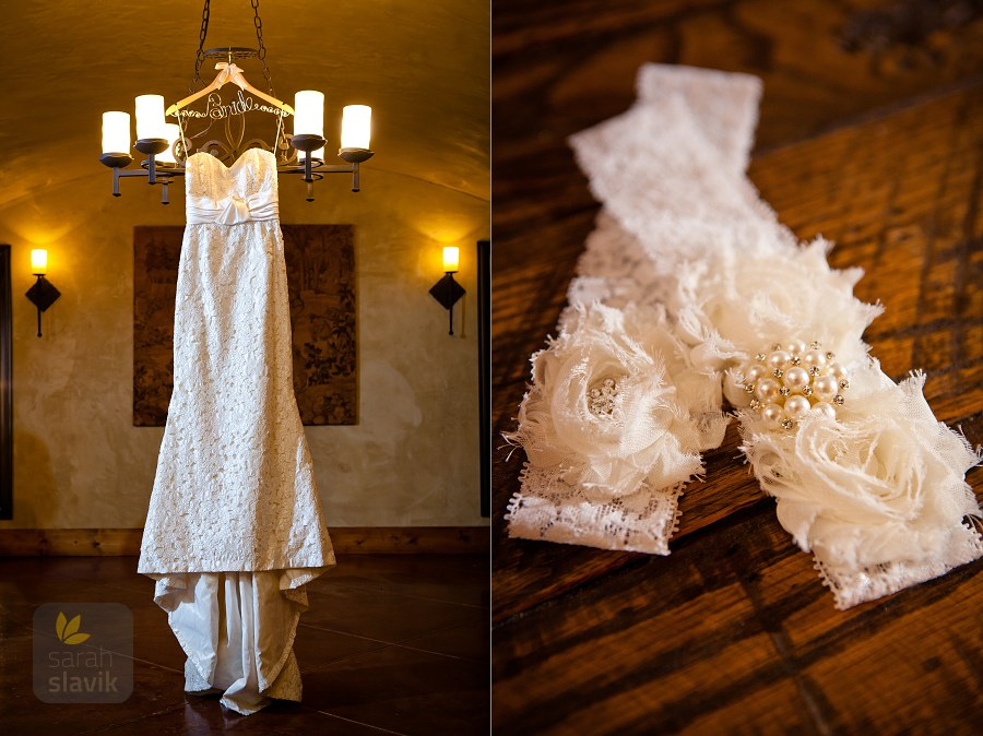 Bridal dress and garter