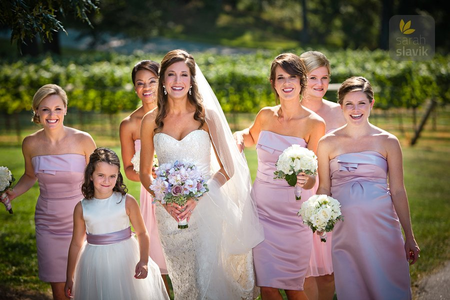 Bridesmaids in vineyard