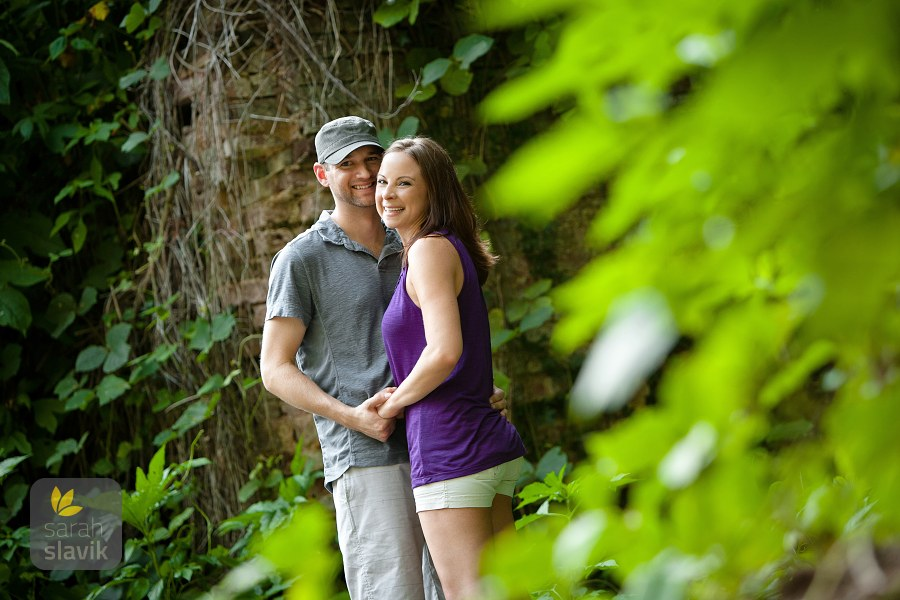 Engagement photo in ruins