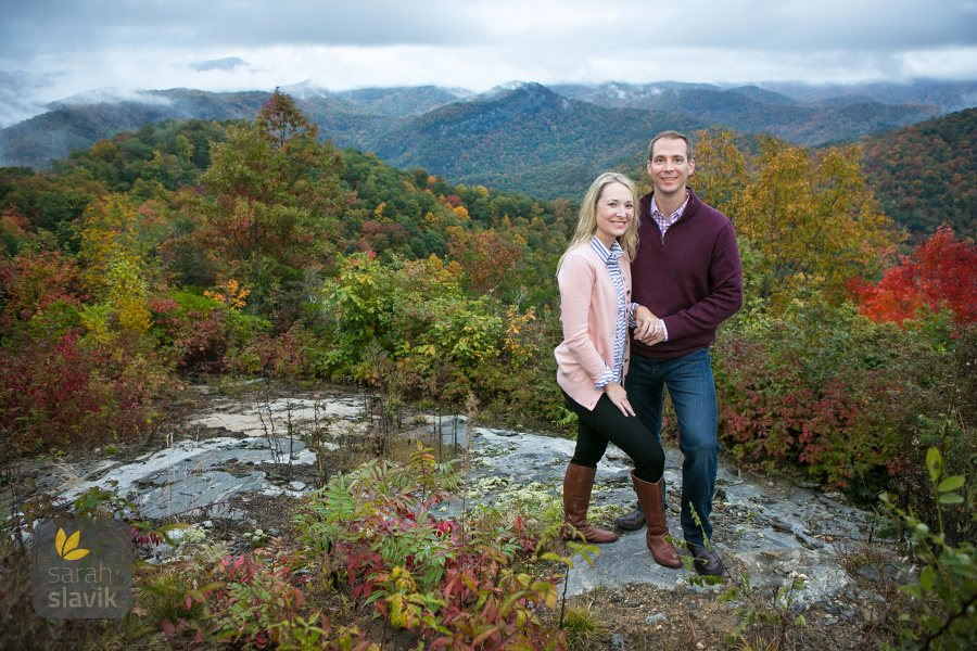 Engagement photo with Smoky Mountains